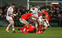 Friday 3rd January 2020 | Ulster Rugby vs Munster Rugby<br /> <br /> Stuart McCloskey is tackled by Peter O'Mahony and Conor Murray during the PRO14 Round 10 inter-pro clash between Ulster and Munster at Kingspan Stadium, Ravenhill Park, Belfast, Northern Ireland.  Photo by John Dickson / DICKSONDIGITAL