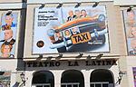 Taxi poster billboard advert, Teatro la Latina theatre playhouse, Madrid city centre, Spain