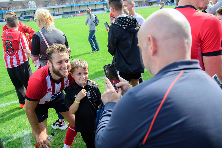 Lincoln City's Jorge Grant poses for photographs with fans<br /> <br /> Photographer Chris Vaughan/CameraSport<br /> <br /> Football Pre-Season Friendly (Community Festival of Lincolnshire) - Gainsborough Trinity v Lincoln City - Saturday 6th July 2019 - The Martin & Co Arena - Gainsborough<br /> <br /> World Copyright © 2018 CameraSport. All rights reserved. 43 Linden Ave. Countesthorpe. Leicester. England. LE8 5PG - Tel: +44 (0) 116 277 4147 - admin@camerasport.com - www.camerasport.com