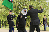 United States President Barack Obama (R) welcomes Abdul Latif bin Rashid Al Zayani, Secretary General of the Gulf Cooperation Council, to the White House May 13, 2015 in Washington, DC. Obama is hosting a summit of the Persian Gulf countries in Washington and at Camp David tomorrow.  <br /> Credit: Chip Somodevilla / Pool via CNP
