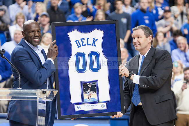Former Kentucky Wildcat Tony Delk has his number retired during halftime of the game against the Auburn Tigers at Rupp Arena on Saturday, February 21, 2015 in Lexington, Ky. Kentucky defeated Auburn 110-75. Photo by Michael M Reaves | Staff.