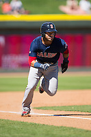 Yoan Moncada (19) of the Salem Red Sox takes his lead off of third base against the Winston-Salem Dash at BB&T Ballpark on April 17, 2016 in Winston-Salem, North Carolina.  The Red Sox defeated the Dash 3-1.  (Brian Westerholt/Four Seam Images)