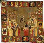 """Palm Sunday Procession in Moscow on April 8, 1498. Zoe Palaiologina with daughters (left under), Ivan III, Elena of Wallachia, D, 1498. Found in the collection of the State History Museum, Moscow."""