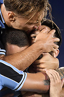 Luis Alberto of SS Lazio (R) celebrates with Marusic and Ciro Immobile after scoring the goal of 2-1 during the Serie A football match between SS Lazio and ACF Fiorentina at stadio Olimpico in Roma ( Italy ), June 27th, 2020. Play resumes behind closed doors following the outbreak of the coronavirus disease. Photo Antonietta Baldassarre / Insidefoto
