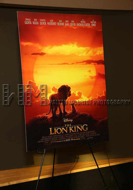 """Movie Poster at the Broadway screening of the Motion Picture Release of """"The Lion King"""" at AMC Empire 25 on July 15, 2019 in New York City."""