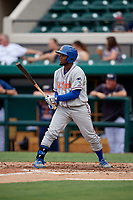 St. Lucie Mets center fielder John Mora (4) at bat during the first game of a doubleheader against the Lakeland Flying Tigers on June 10, 2017 at Joker Marchant Stadium in Lakeland, Florida.  Lakeland defeated St. Lucie 6-5 in fourteen innings.  (Mike Janes/Four Seam Images)