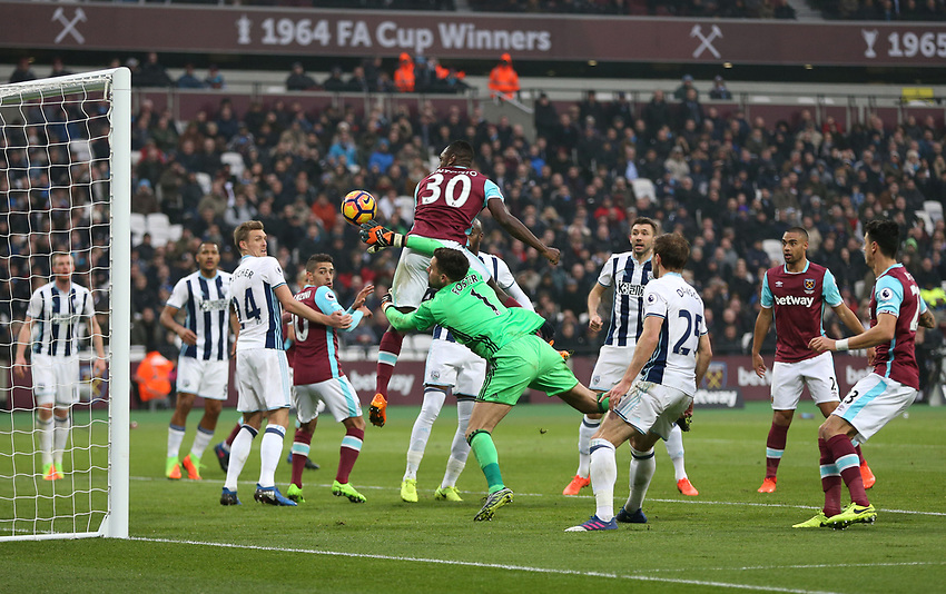 West Ham United's Michail Antonio goes close with a first half header<br /> <br /> Photographer Rob Newell/CameraSport<br /> <br /> The Premier League - West Ham United v West Bromwich Albion - Saturday 11th February 2017 - London Stadium - London<br /> <br /> World Copyright &copy; 2017 CameraSport. All rights reserved. 43 Linden Ave. Countesthorpe. Leicester. England. LE8 5PG - Tel: +44 (0) 116 277 4147 - admin@camerasport.com - www.camerasport.com