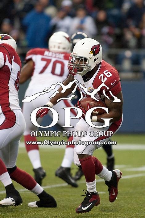 DEC 09, 2012:  Arizona's Beanie Wells against the Seattle Seahawks.  Seattle defeated Arizona 58-0 at CenturyLink Field in Seattle, WA...