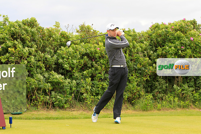 David Sutton (Lurgan) on the 10th tee during the Semi-Finals of the North of Ireland Amateur Open Championship at Royal Portrush, Dunluce Course on Friday 17th July 2015.<br /> Picture:  Golffile | Thos Caffrey