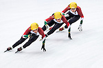 Team of Hungary formed by  Szandra Lajtos, Bernadett Heidum and Andrea Keszker in action during the Short Track Speed Skating as part of the 2014 Sochi Olympic Winter Games at Iceberg Skating Palace on February 10, 2014 in Sochi, Russia. Photo by Victor Fraile / Power Sport Images