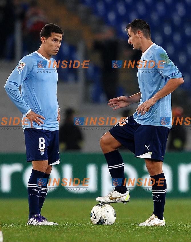 """HERNANES Lazio Miroslav KLOSE Lazio.Roma 26/10/2011 Stadio """"olimpico"""".Football Calcio Serie A 2011/2012.Lazio Vs Catania.Foto Insidefoto Andrea Staccioli"""