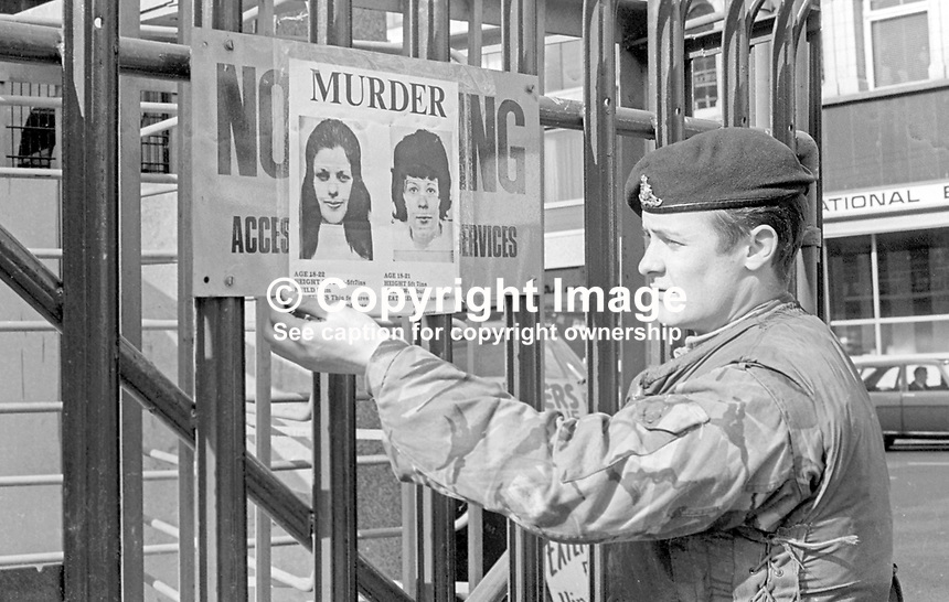 Following the Provisional IRA murder of three off-duty soldiers who were lured to a Belfast apartment on 23rd March 1973 an identikit poster of the two women involved was put up at army checkpoints throughout Belfast and elsewhere in N Ireland. 197303250150<br /> <br /> Copyright Image from Victor Patterson, 54 Dorchester Park, Belfast, UK, BT9 6RJ<br /> <br /> t1: +44 28 9066 1296 (from Rep of Ireland 048 9066 1296)<br /> t2: +44 28 9002 2446 (from Rep of Ireland 048 9002 2446)<br /> m: +44 7802 353836<br /> <br /> e1: victorpatterson@me.com<br /> e2: victorpatterson@gmail.com<br /> <br /> The use of my copyright images is subject to my Terms &amp; Conditions.<br /> <br /> It is IMPORTANT that you familiarise yourself with them. They are available on my website at www.victorpatterson.com.<br /> <br /> None of my copyright images may be used on a website unless they are visibly watermarked, i.e. &copy; Victor Patterson within the body of the visible image. Metadata denoting my copyright must NOT be deleted. <br /> <br /> Web use is extra at currently recommended NUJ rates.