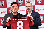 Vissel Kobe's new signing Andres Iniesta and Vissel Kobe owner Hiroshi Mikitani attend a press conference in Tokyo, Japan on Thursday, May 24, 2018. Barcelona legend playmaker announced he has signed with J-League first-division side Vissel Kobe. (Photo by Naoki Nishimura/AFLO SPORT)