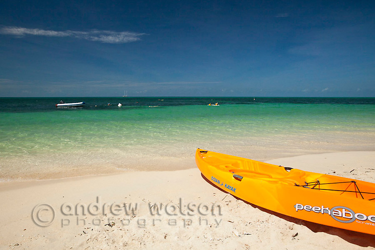 Kayak on the shores of Green Island - a coral cay off the coast of Cairns.  Great Barrier Reef, Queensland, Australia