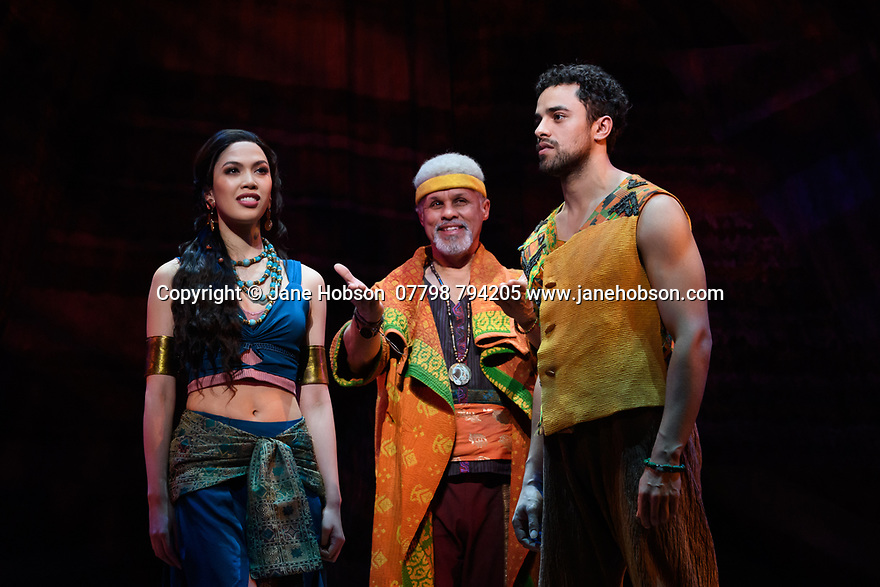 "London, UK. 21.02.2020. Christine Allado (Tzipporah), Gary Wilmot (Jethro) and Luke Brady (Moses) in a scene form ""Prince of Egypt"", at the press photocall at the Dominion Theatre, London. Produced by DreamWorks Theatricals, directed by Scott Schwartz, with choreography by Sean Cheesman, set design by Kevin Depinet, costume design by Ann Hould-Ward and lighting design by Mike Billings.  Photograph © Jane Hobson."