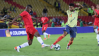 BOGOTÁ- COLOMBIA,03-06-2019:Luis Diaz jugador de Colombia disputa el balón con Panamá durante   partido amistoso de preparación para la Copa América de Brasil 2019 jugado en el estadio Nemesio Camacho El Campín de la ciudad de Bogotá. /Luis Diaz  player of Colombia disputes the ball with  Panama during friendly match in preparation for the Copa América of Brazil 2019 played in the Nemesio Camacho El Campín stadium in the city of Bogotá.. Photo: VizzorImage / Felipe Caicedo / Staff