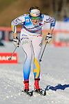 Stina Nilsson competes during the FIS Cross Country Ski World Cup 10 Km Individual Classic race in Dobbiaco, Toblach a, on December 20, 2015. Norway's Therese Johaug wins. Credit: Pierre Teyssot