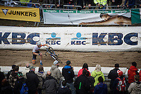 Joris Nieuwenhuis (NLD/Rabobank Development Team) getting up and trying not to get run over after crashing at the bottom of the infamous 'Pit'<br /> <br /> U23 race<br /> Superprestige Zonhoven 2015