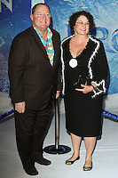 "HOLLYWOOD, CA - NOVEMBER 19: John Lasseter, Nancy Lasseter at the World Premiere Of Walt Disney Animation Studios' ""Frozen"" held at the El Capitan Theatre on November 19, 2013 in Hollywood, California. (Photo by David Acosta/Celebrity Monitor)"