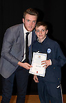 St Johnstone FC Academy Awards Night...06.04.15  Perth Concert Hall<br /> Zander Clark presents a certificate to Ben Fraser<br /> Picture by Graeme Hart.<br /> Copyright Perthshire Picture Agency<br /> Tel: 01738 623350  Mobile: 07990 594431