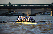 19.01.2014. River Thames, London, England.  Persistant VIII Dominic Parr [Bow], Matthias Wyss [2], James Fraser-Mackenzie [3], Thomas Swartz [4], Malcolm Howard [5], Michael Di Santo [6], Iain Mandale [7], Chris Fairweather [Stroke], Laurence Harvey [Cox]. The Trial serves as part of the selection process to determine who will represent Oxford University in the 160th running of the University Boat Race on April 6th 2014. The trial for the two eights, named Persistent and Stubborn is the only occasion during the season that the squad members can race side-by-side over the full four and a quarter miles of the Championship Course between Putney and Mortlake in a simulation of The BNY Mellon Boat Race.
