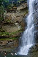 Falls on Suava River, River canyon with rainforest and waterfalls, Highlands of Viti Levu Island, FijI