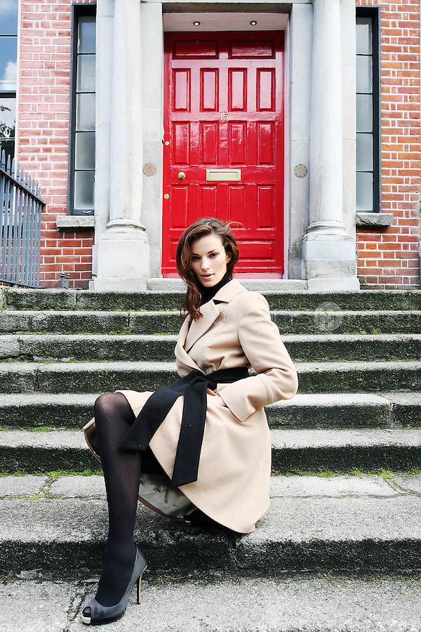 15/7/2010. COAST AUTUMN WINTER 2010 PREVIEW. Karen wears an Allah Coat EUR230 at the preview of the Coast Autumn Winter 2010 collection at 15 St Stephens Green Dublin. Picture James Horan/Collins Photos