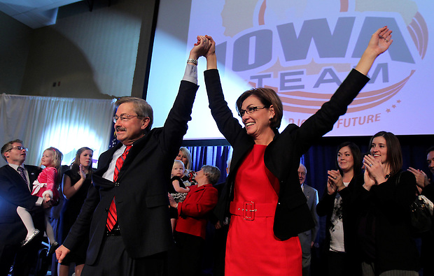 Governor-elect Terry Branstad and running mate Kim Reynolds celebrate with supporters supporters after winning a fifth term as Iowa Governor on election night.  Republican Party election night rally at the Hy-Vee Conference Center in West Des Moines on Tuesday night, November 2, 2010.