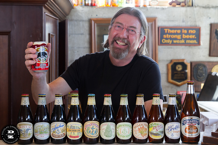 Keith Greggor, president and CEO of Anchor Brewers & Distillers at the Anchor Steam brewery in San Francisco, Calif.  Here he is with the line up of beers on tap.