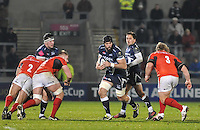 Sale Sharks Bryn Evans with the ball starts to break  during the European Rugby Champions Cup match between Sale Sharks and Saracens at AJ Bell Stadium, Salford, England on 18 December 2016. Photo by Paul Bell.