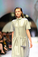 MELBOURNE - September 5, 2019: A model wearing White Story walks at the Town Hall Closing Runway show during Melbourne Fashion Week in Melbourne, Australia. Photo Sydney Low