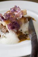 Europe/France/Aquitaine/64/Pyrénées-Atlantiques/St Pée sur Nivelle:le cochon Ibaiona snacké et confit à l'échalote, flanqué d'une petite salade d'huîtres à la roquette recette de Cédric Béchade  à L'Auberge Basque, quartier Helbarron
