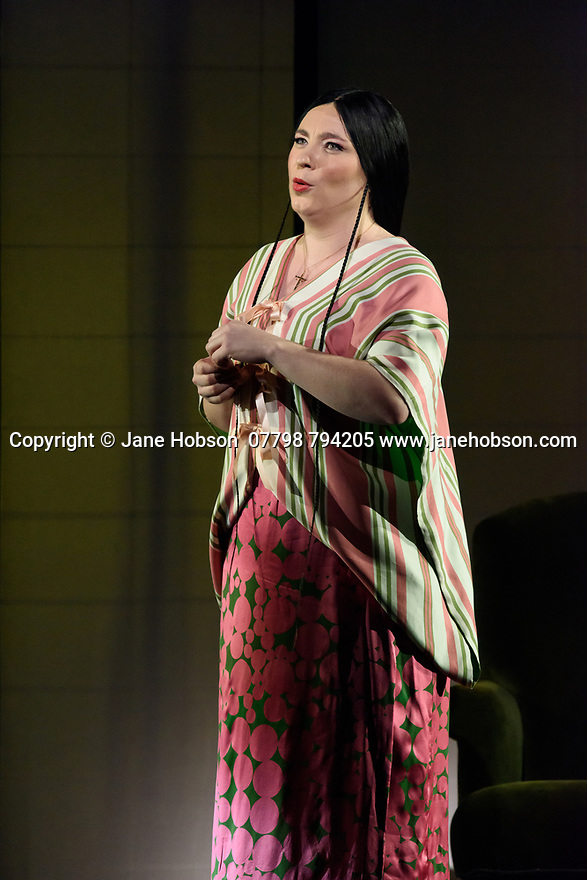"London, UK. 24.02.2020. English National Opera presents Puccini's ""Madam Butterfly"" at the London Coliseum.  This production is directed by Anthony Minghella with Glen Sheppard as revival director, set design by Michael Levine, costume design by Han Feng, and lighting design by Peter Mumford. Revival choreography is by David John and puppetry is by Blind Summit. The cast is: Natalya Romaniw (Cio-Cio San), Dimitri Pittas (Pinkerton), Roderick Williams (Sharpless), Stephanie Windsor-Lewis (Suzuki), Alasdair Elliott (Goro), Keel Watson (The Bonze), Njabulo Madlala (Prince Yamadori), Katie Stevenson (Kate Pinkerton). Photograph © Jane Hobson."