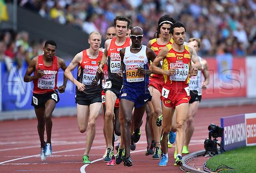 17.08.2014. Zurich, Switzerland. European Athletics Championships 2014 at the Letzigrund stadium in Zurich, Switzerland. Mens Final 5000m shows leader Mohamed Farah (GBR)