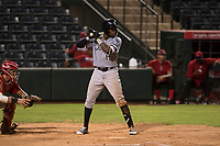 Center fielder Luis Robert (15), on rehab assignment with the AZL White Sox, at bat during an Arizona League game against the AZL Angels at Tempe Diablo Stadium on August 3, 2018 in Tempe, Arizona. The AZL White Sox defeated the AZL Angels 6-4. (Zachary Lucy/Four Seam Images)