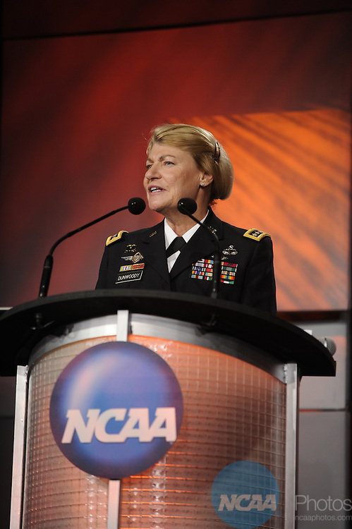 14 JAN 2011: Honorees and guests participate in the NCAA Honors Celebration at the 2011 NCAA Convention held at the Hyatt hotel in San Antonio, TX. Stephen Nowland/NCAA Photos.Pictured: General Ann E. Dunwoody