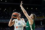 Real Madrid Gustavo Ayon and Panathinaikos Ian Vougioukas during Turkish Airlines Euroleague Quarter Finals 3rd match between Real Madrid and Panathinaikos at Wizink Center in Madrid, Spain. April 25, 2018. (ALTERPHOTOS/Borja B.Hojas)