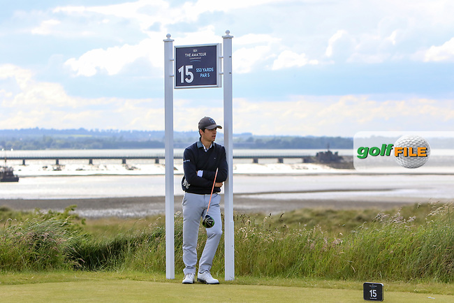 Raphael Le Bot (FRA) relaxing on the 15th tee during Round 1 of the The Amateur Championship 2019 at The Island Golf Club, Co. Dublin on Monday 17th June 2019.<br /> Picture:  Thos Caffrey / Golffile<br /> <br /> All photo usage must carry mandatory copyright credit (© Golffile | Thos Caffrey)