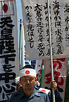 August 15, 2011, Tokyo, Japan - A right-winger speaks during during commemorations marking the end of WW2. (Photo by Bruce Meyer-Kenny/AFLO) [3692]