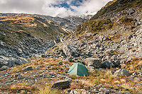 Camping near Ice Lake in Southern Alps, Westland National Park, West Coast, New Zealand