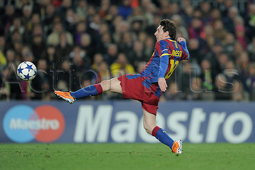 08.03.2011 UEFA Champions League second leg of round of 16 match between Barcelona FC and Arsenal at the Nou Camp Stadium. Barcelona won the game 3-1 to eliminate Arsenal from the competition on aggregate 4-3. Picture shows Lionel Messi.