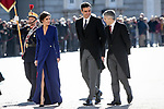 (L to R) Queen Letizia of Spain; Pedro Sanchez, President of the Government of Spain and Fernando Grande-Marlaska, Minister of the Interior attend the New Year Military parade 2020 celebration at the Royal Palace. January 6,2020. (ALTERPHOTOS/Pool)