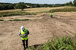 Site of neolithic finds discovered during Scottish Power work, Martlesham, Suffolk, England, UK summer 2018