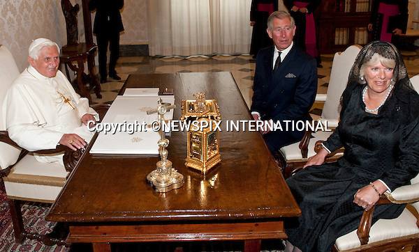 """PRINCE CHARLES and CAMILLA_Duchess of Cornwall.Visit the Vatican for a meeting with Pope Benedict XVI._Vatican City_27/04/2009.Mandatory Photo Credit: ©Dias/Newspix International..**ALL FEES PAYABLE TO: """"NEWSPIX INTERNATIONAL""""**..PHOTO CREDIT MANDATORY!!: NEWSPIX INTERNATIONAL(Failure to credit will incur a surcharge of 100% of reproduction fees)..IMMEDIATE CONFIRMATION OF USAGE REQUIRED:.Newspix International, 31 Chinnery Hill, Bishop's Stortford, ENGLAND CM23 3PS.Tel:+441279 324672  ; Fax: +441279656877.Mobile:  0777568 1153.e-mail: info@newspixinternational.co.uk"""