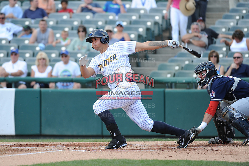 Trenton Thunder catcher Gary Sanchez (35) during game against the New Hampshire Fisher Cats at ARM & HAMMER Park on June 22, 2014 in Trenton, NJ.  New Hampshire defeated Trenton 7-2.  (Tomasso DeRosa/Four Seam Images)