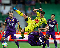 7th February 2020; HBF Park, Perth, Western Australia, Australia; A League Football, Perth Glory versus Wellington Phoenix; Cameron Devlin of Wellington Phoenix is upened by the tackle from Gregory Wuthrich of the Perth Glory in Glory's box
