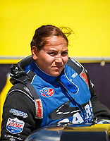 Apr 23, 2017; Baytown, TX, USA; NHRA top alcohol dragster driver Mia Tedesco during the Springnationals at Royal Purple Raceway. Mandatory Credit: Mark J. Rebilas-USA TODAY Sports