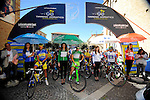 Riders line up before the start of Stage 6 of the 2014 Tirreno-Adriatico, running from Bucchianico to Porto Sant Elpidio (189 km). 17th March 2014.      <br /> Photo: Gian Mattia D'Alberto/LaPresse/www.newsfile.ie