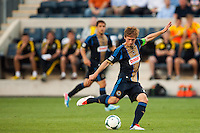 Brian Carroll (7) of the Philadelphia Union shoots and scores during the first half against the Columbus Crew during a Major League Soccer (MLS) match at PPL Park in Chester, PA, on June 5, 2013.