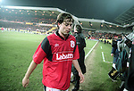 Ian Woan of Nottingham Forest leaves the field dejected - UEFA Cup - quarter final 2nd leg - Nottingham Forest v Bayern Munich - City Ground - Nottingham - England - 19th March 1996 - Picture Simon Bellis/Sportimage